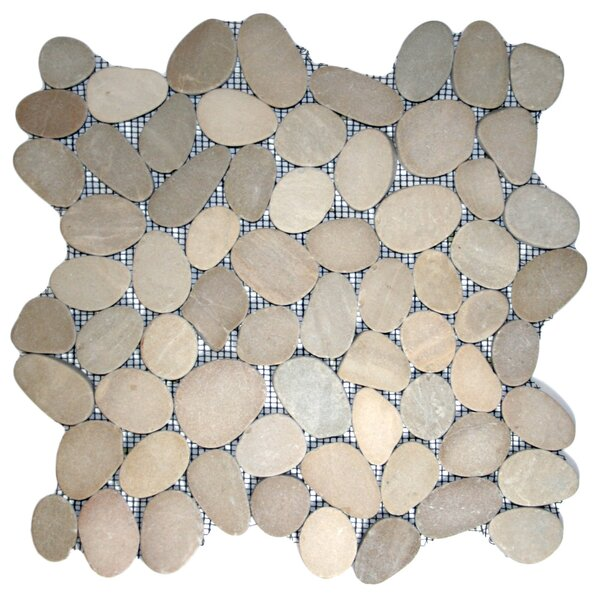 Yangtze Random Sized Natural Stone Mosaic Tile in Tan by CNK Tile