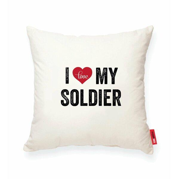 Pettitt I Heart Soldier Cotton Throw Pillow by Wrought Studio