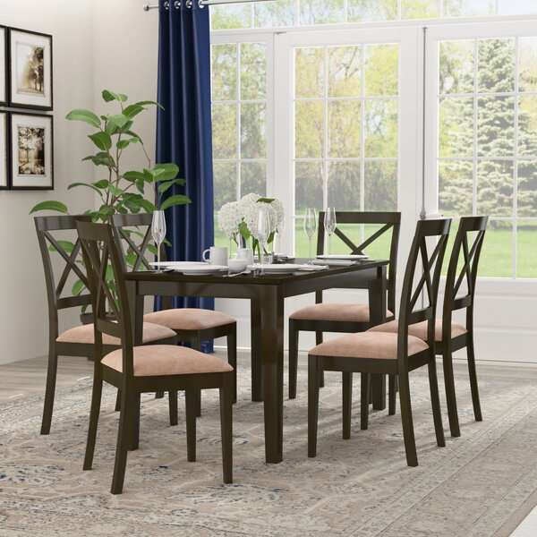 Smyrna Microfiber Upholstery 7 Piece Dining Set by Charlton Home