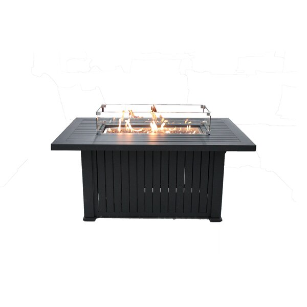 Glass Border Aluminum Propane Fire Pit Table by New Spring Patio