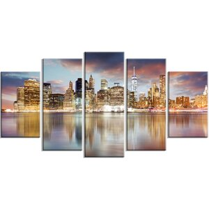 'New York Skyline at Sunrise with Reflection.' 5 Piece Wall Art on Wrapped Canvas Set by Design Art