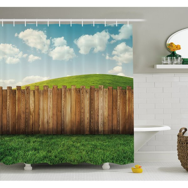 Farm House Wooden Garden Fence on Grassland Pastoral Environment with Cloudy Sky Shower Curtain Set by Ambesonne