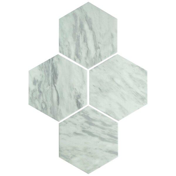 Karra Hexagon 7 x 8 Porcelain Field Tile in White/Gray by EliteTile