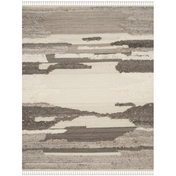 Lurdes Hand-Knotted Ivory/Gray Area Rug by 17 Stories