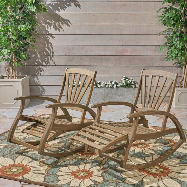 Sabrina Outdoor Rustic Teak Rocking Chair (Set of 2) by Rosecliff Heights