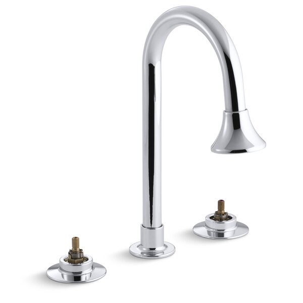 Triton Widespread Commercial Bathroom Sink Faucet with Gooseneck Spout with Rosespray and Rigid Connections, Requires Handles, Drain Not Included by Kohler
