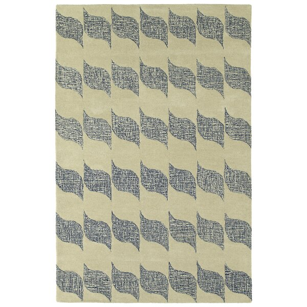 Funderburg Hand-Tufted Wool Ivory/Navy Area Rug by Ebern Designs