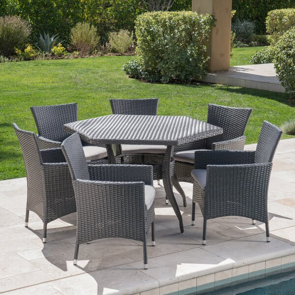 7 Piece Dining Set with Cushion by Ebern Designs