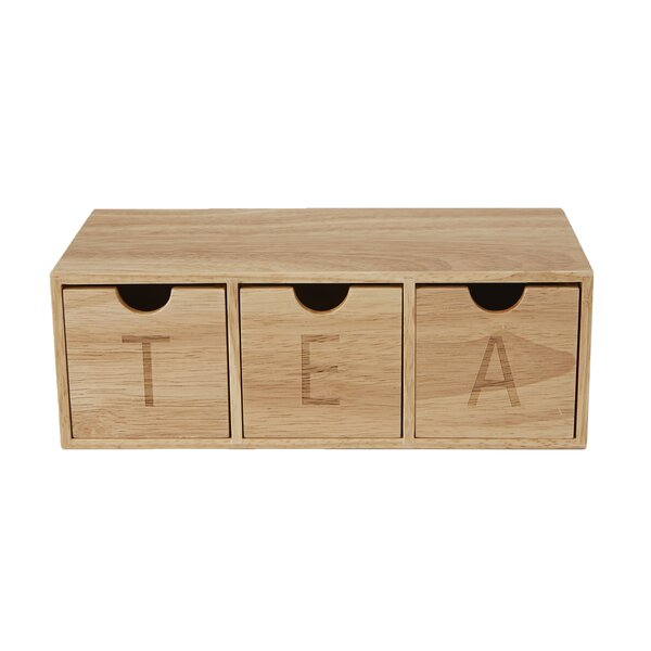 3 Compartment Wood Tea Box Organizer by Mind Reader