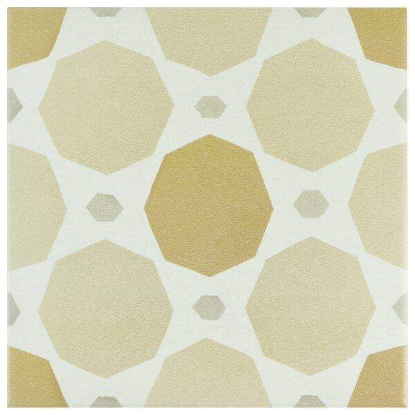 Grotta 7.88 x 7.88 Porcelain Field Tile in Orange/Sand by EliteTile