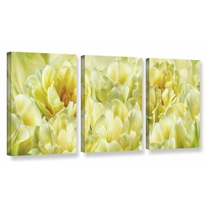 Yellow 3 Piece Photographic Print on Wrapped Canvas Set by Red Barrel Studio