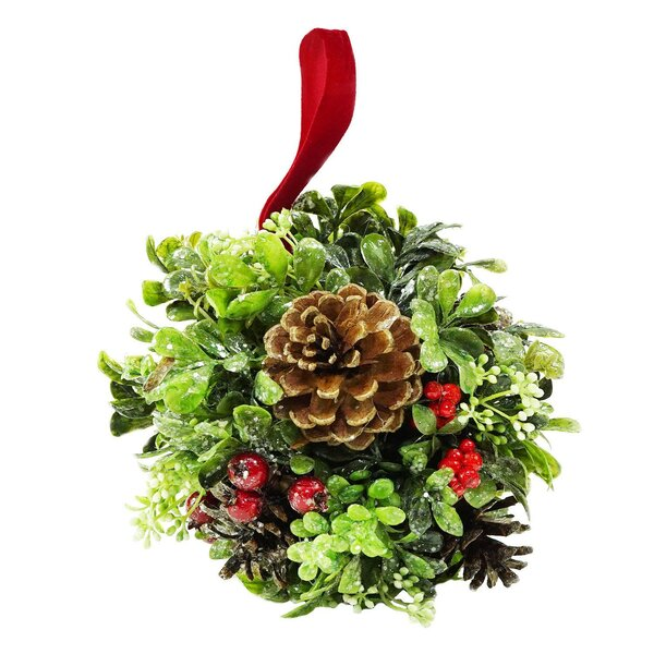 Glittered Artificial Boxwood Berry and Pine Cone Christmas Kissing Topiary Ball by The Holiday Aisle