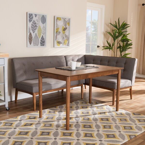 Bopp Mid-Century Modern Upholstered 3 Piece Breakfast Nook Dining Set by Corrigan Studio