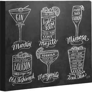 'Cocktails' Graphic Art on Wrapped Canvas by Zipcode Design