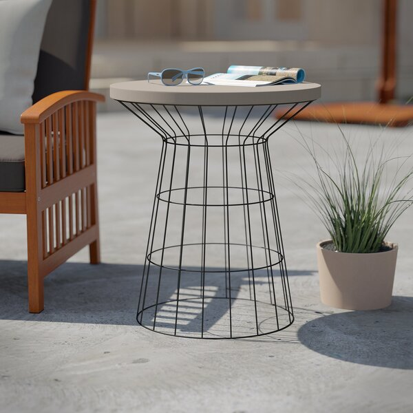 Traci Stone/Concrete Side Table by Wrought Studio