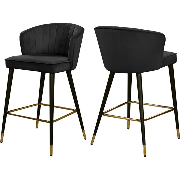 Stratton Velvet 36.5 Stool (Set of 2) by Everly Quinn