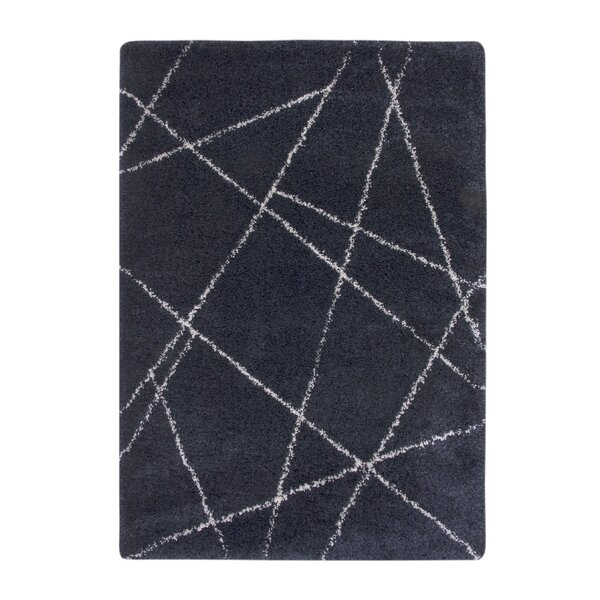 Tefft Shag/Flokati Synthetic Blue/Ivory Indoor Area Rug by Brayden Studio