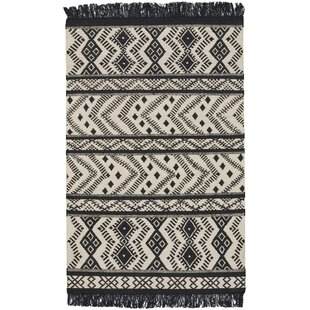 Best Pillar Black/White Area Rug By Union Rustic