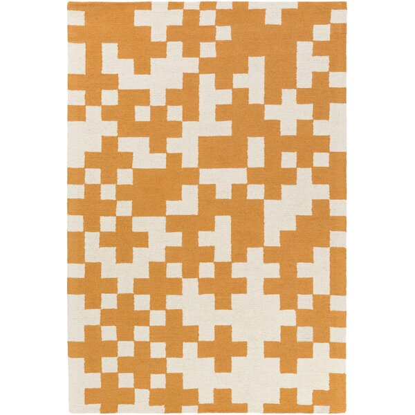 Youngman Hand-Crafted Orange/White Area Rug by George Oliver