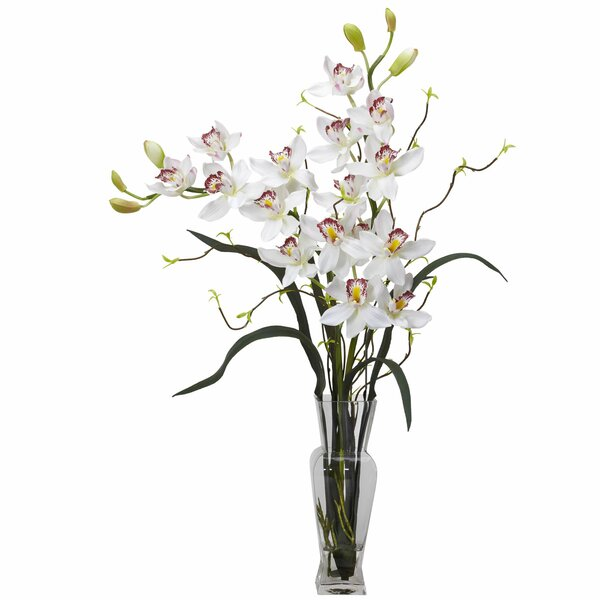 Orchids Floral Arrangement in Vase by Nearly Natural