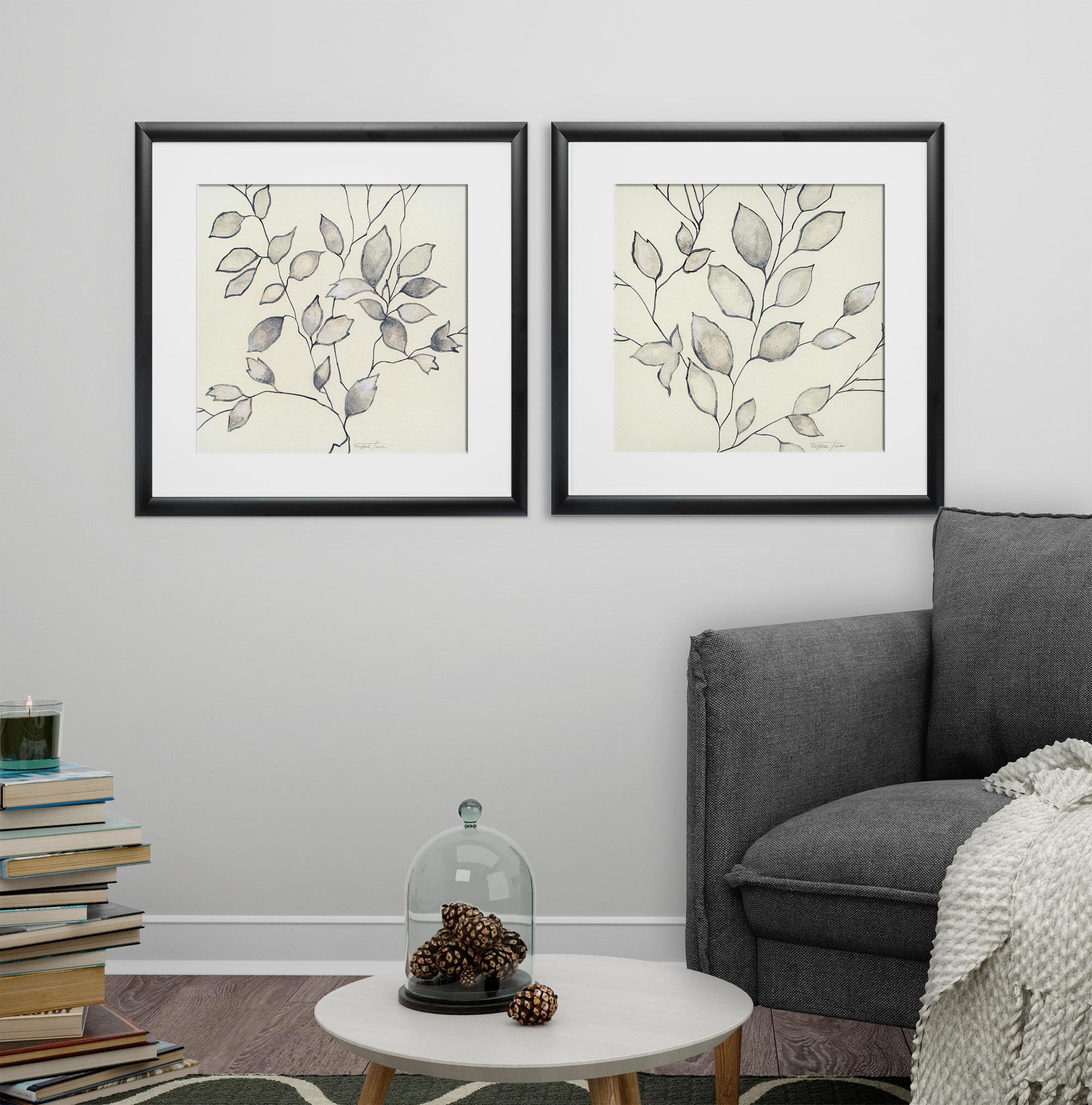 Gracie Oaks \'Whispering Leaves\' 2 Piece Framed Graphic Art Print Set ...