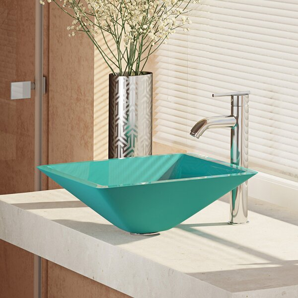 Glass Square Vessel Bathroom Sink with Faucet by René By Elkay