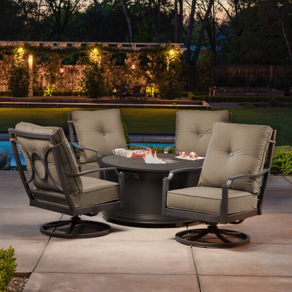 Schock 5 Piece Multiple Chairs Seating Group with Sunbrella Cushions by Red Barrel Studio