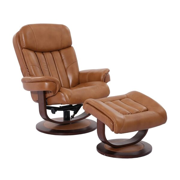 Jemimah Leather Manual Swivel Recliner With Ottoman By Ebern Designs