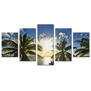 'Niue Palms Sunset' 5 Piece Photographic Print on Wrapped Canvas Set by Ebern Designs