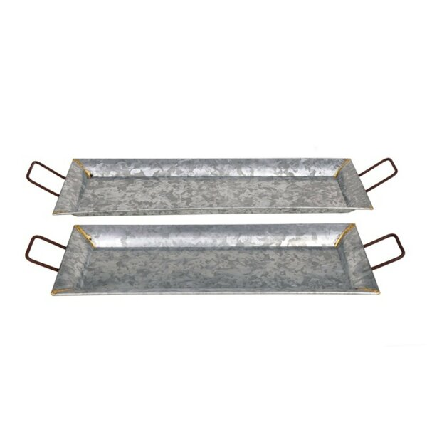 Salisbury 2 Piece Rectangle Silver Metal Decorative Tray Set by Laurel Foundry Modern Farmhouse