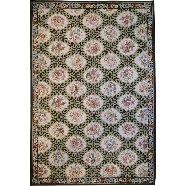 One-of-a-Kind Aubusson Hand-Woven Wool Beige/Black/Pink Area Rug by Pasargad