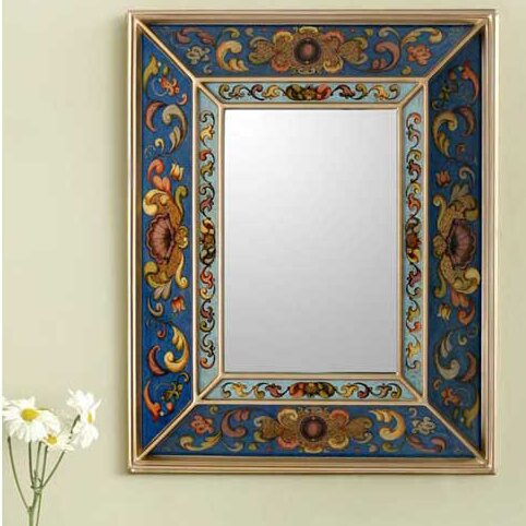 Reverse Painted Artisan Crafted Wall Mirror by Novica
