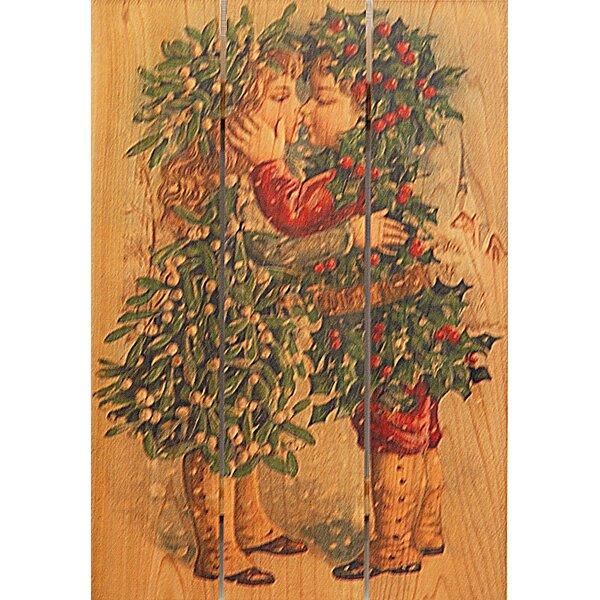 3 Piece Kissing Kids Painting Print on Cedar by Gizaun Art
