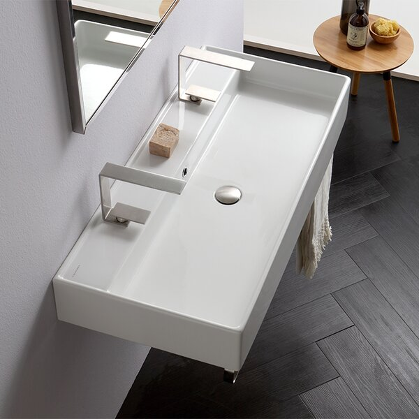 Teorema Ceramic 39 Wall Mount Bathroom Sink with Overflow by Scarabeo by Nameeks