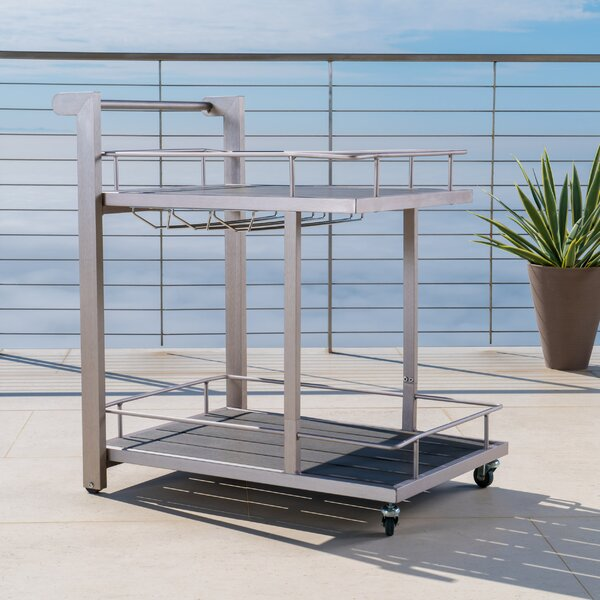Thurso Outdoor Aluminum Bar Cart by Wade Logan