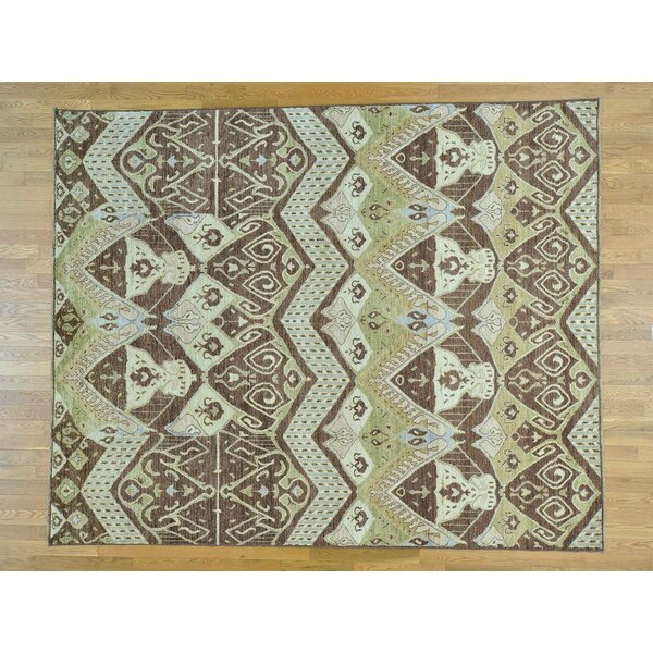 One-of-a-Kind Chumley Ikat Tribal Geometric Design Hand-Knotted Wool Area Rug by Isabelline