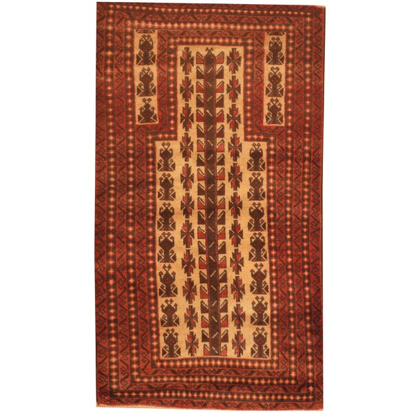 Prentice Hand-Knotted Ivory/Rust Area Rug by Isabelline