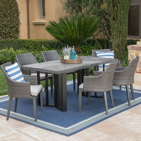 Moshier Outdoor 7 Piece Dining Set with Cushions by Ebern Designs