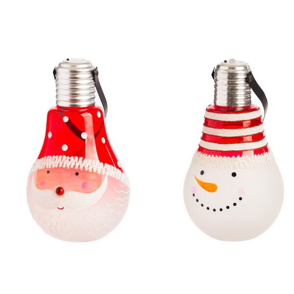 Glass Santa/Snowman Lightbulb Shaped LED Decor Set (Set of 2) by Red Barrel Studio