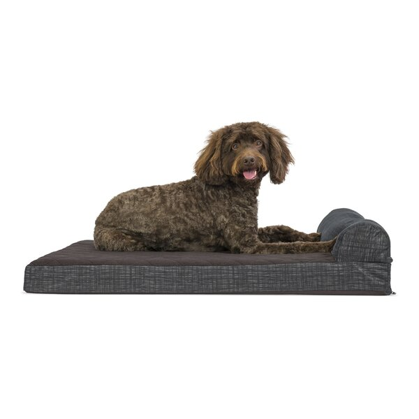 Colin Quilted Fleece and Print Suede Orthopedic Dog Sofa by Tucker Murphy Pet