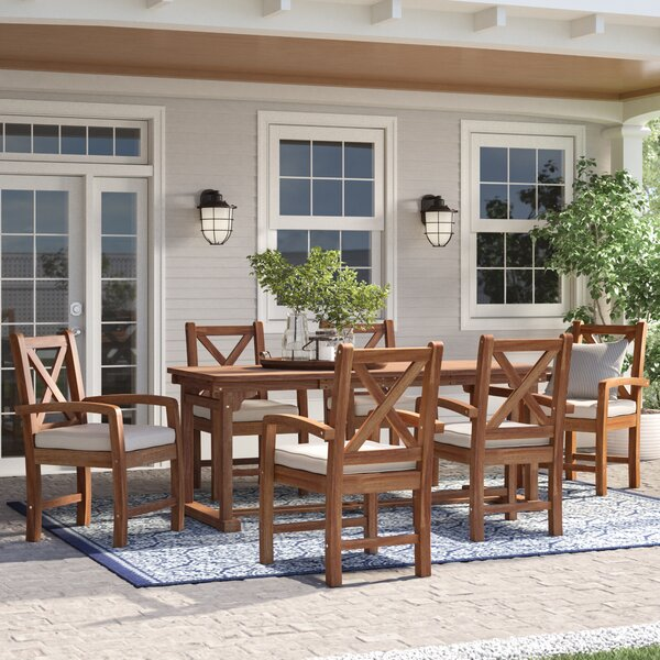 Tim X-Back Patio 7 Piece Dining Set with Cushions by Birch Lane™ Heritage