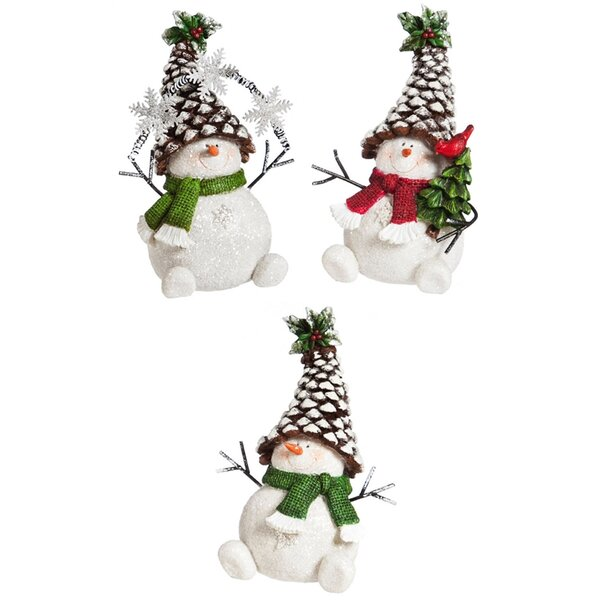 3 Piece Christmas Pinecone Snowman Decor Set by The Holiday Aisle