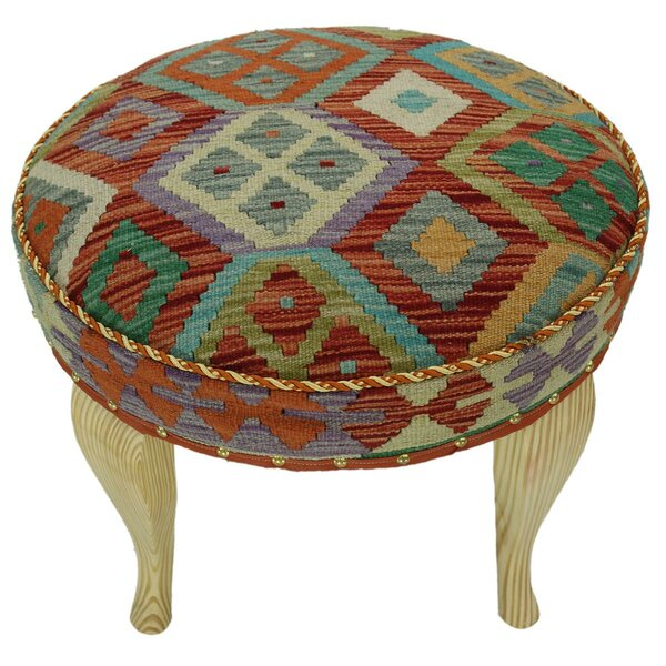 Straw Kilim Upholstered Handmade Ottoman by Bloomsbury Market