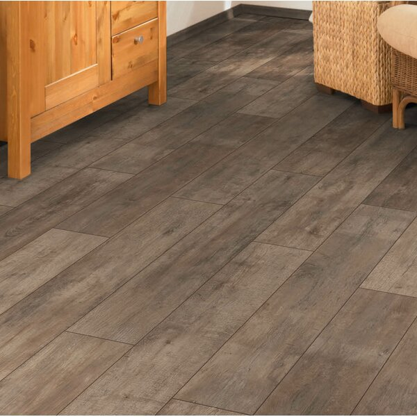 Torre 9 x 48 x 8mm Oak Laminate Flooring in Brown by Branton Flooring Collection