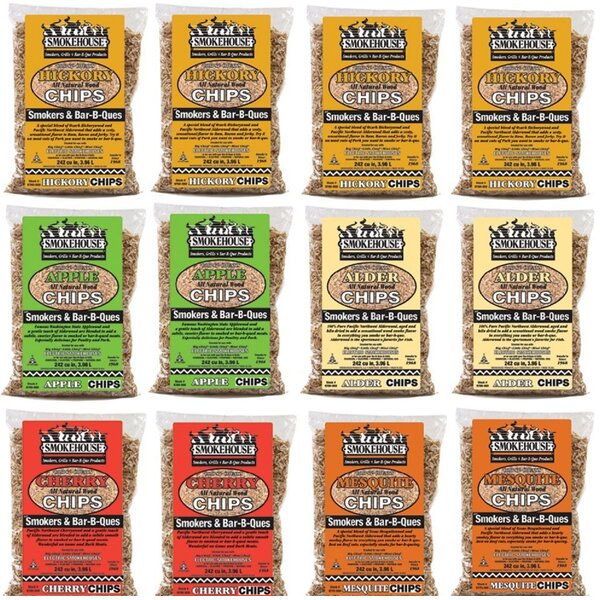 Assorted Flavored Wood Chips (12 Pack) by Smokehouse Products