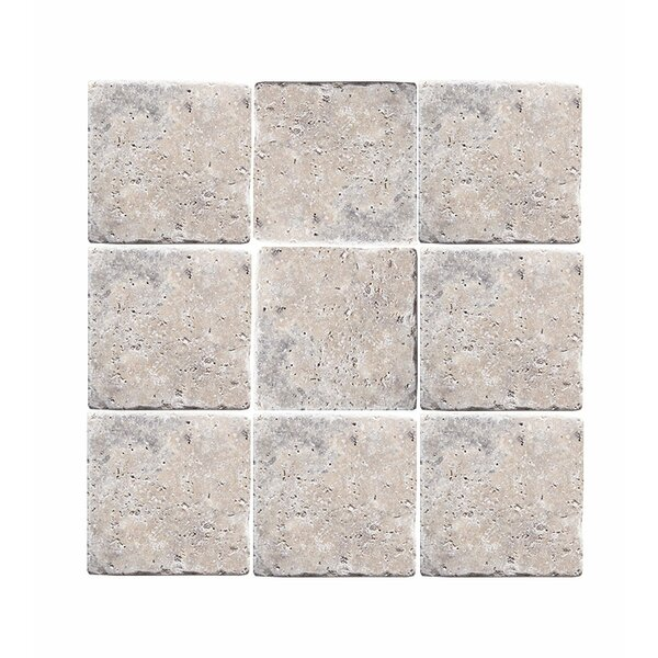 Tumbled 6 x 6 Travertine Field Tile in Silver by Parvatile