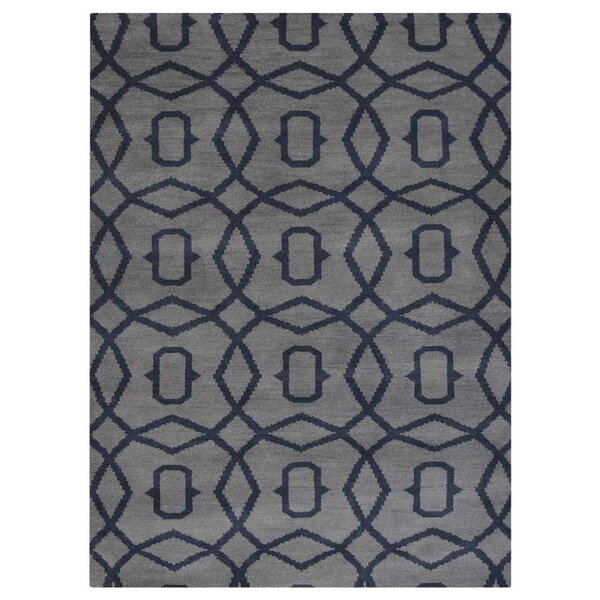 Frisange Geometric Hand-Knotted Wool Light Blue/Gray Area Rug by Brayden Studio