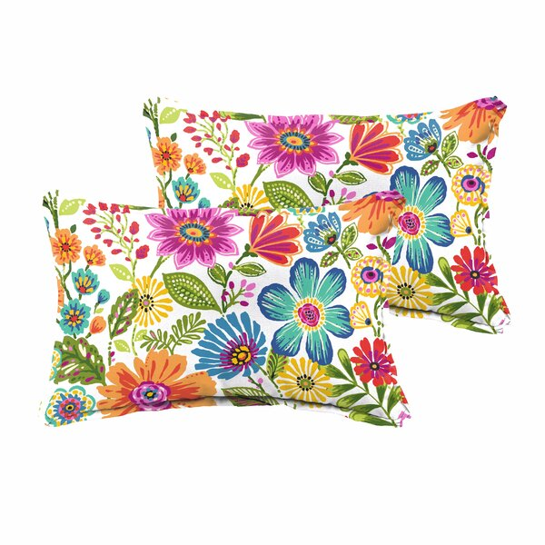 Paxton Traditional Floral Indoor/Outdoor Lumbar Pillow (Set of 2) by Andover Mills