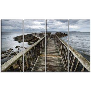 'Wooden Pier on North Irish Coastline' 4 Piece Photographic Print on Wrapped Canvas Set by Design Art
