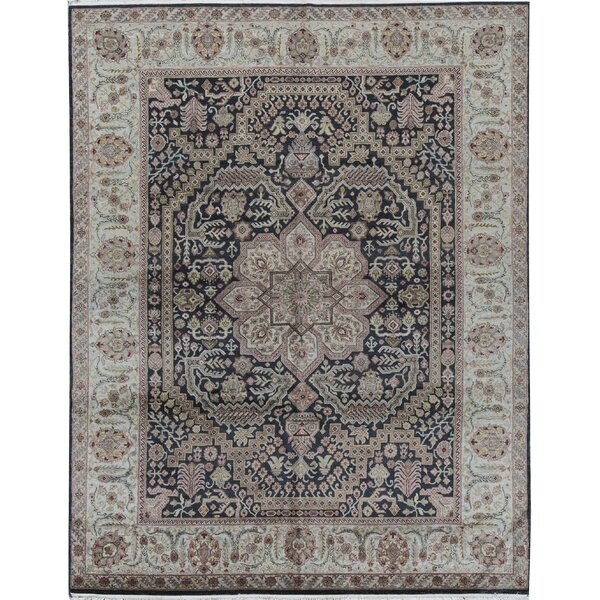 Oriental Hand-Knotted 7.10' x 10' Wool Black/Gray Area Rug